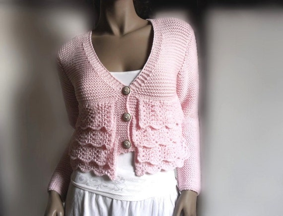 Women's Knit Cardigan Knit Lace Sweater Ruffle  Soft Pink White Blue Brown Grey Green Yellow Beige Cardigan Choose the Color