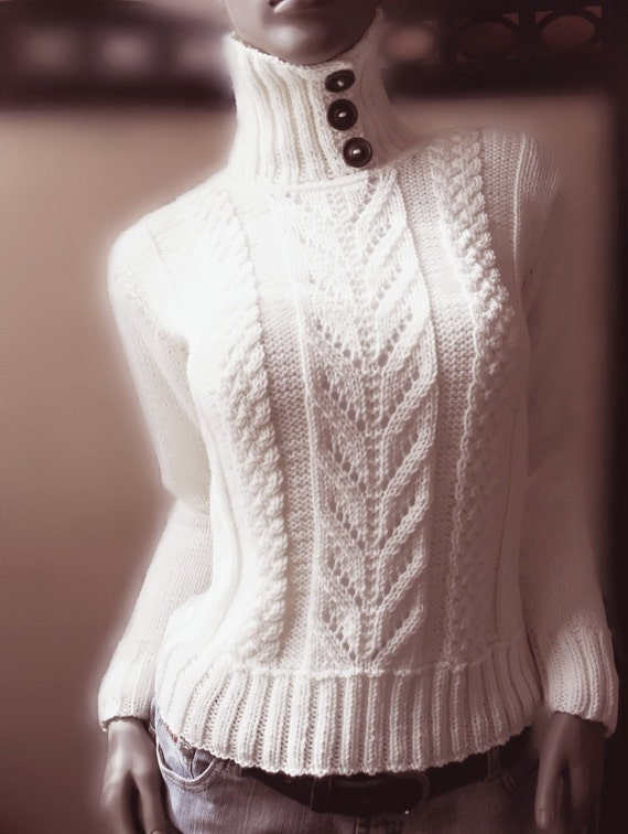 Off White merino extrafine sporty sweater with buttoned collar cables and lace pattern NEW ITEM