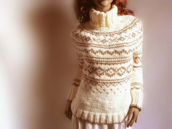 Hand Knit Sweater Fire Isle Womens Ski Sweater Turtleneck Pullover Off White Beige Brown