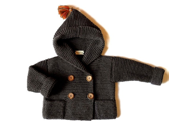 SAMPLE SALE  25% OFF Hand Knit  hooded Coat Sweater with pockets wooden buttons Grey - Merino extrafine  Fits from 9month- 2years