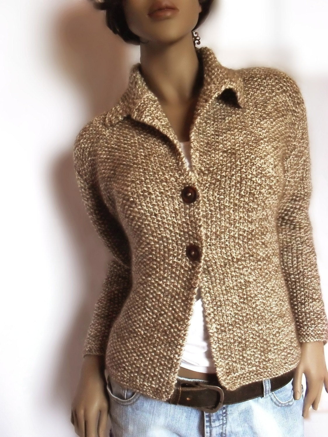 Knitting Pattern Mohair Jacket : Womens Hand knit Jacket Merino wool sweater Mohair by Pilland