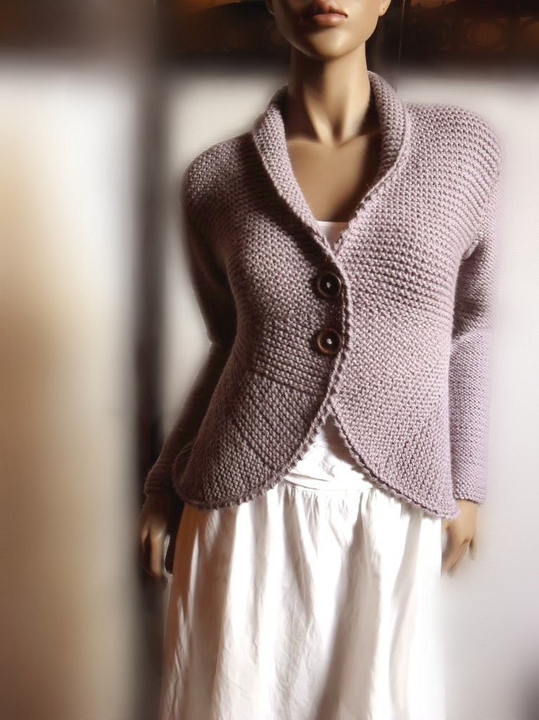 Womens Hand Knit Sweater Jacket Purple Grey Wool Sweater