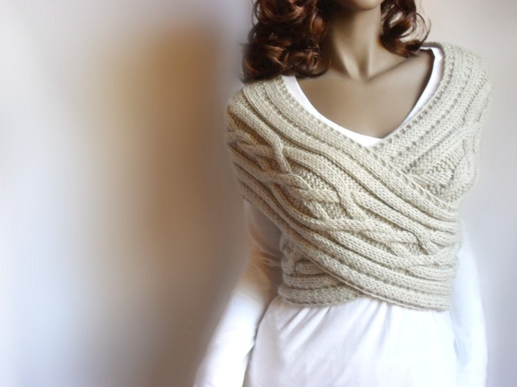Womens Knitting Vest Patterns : Hand Knit Vest Cable Knit Womens Sweater Knit Cowl Many