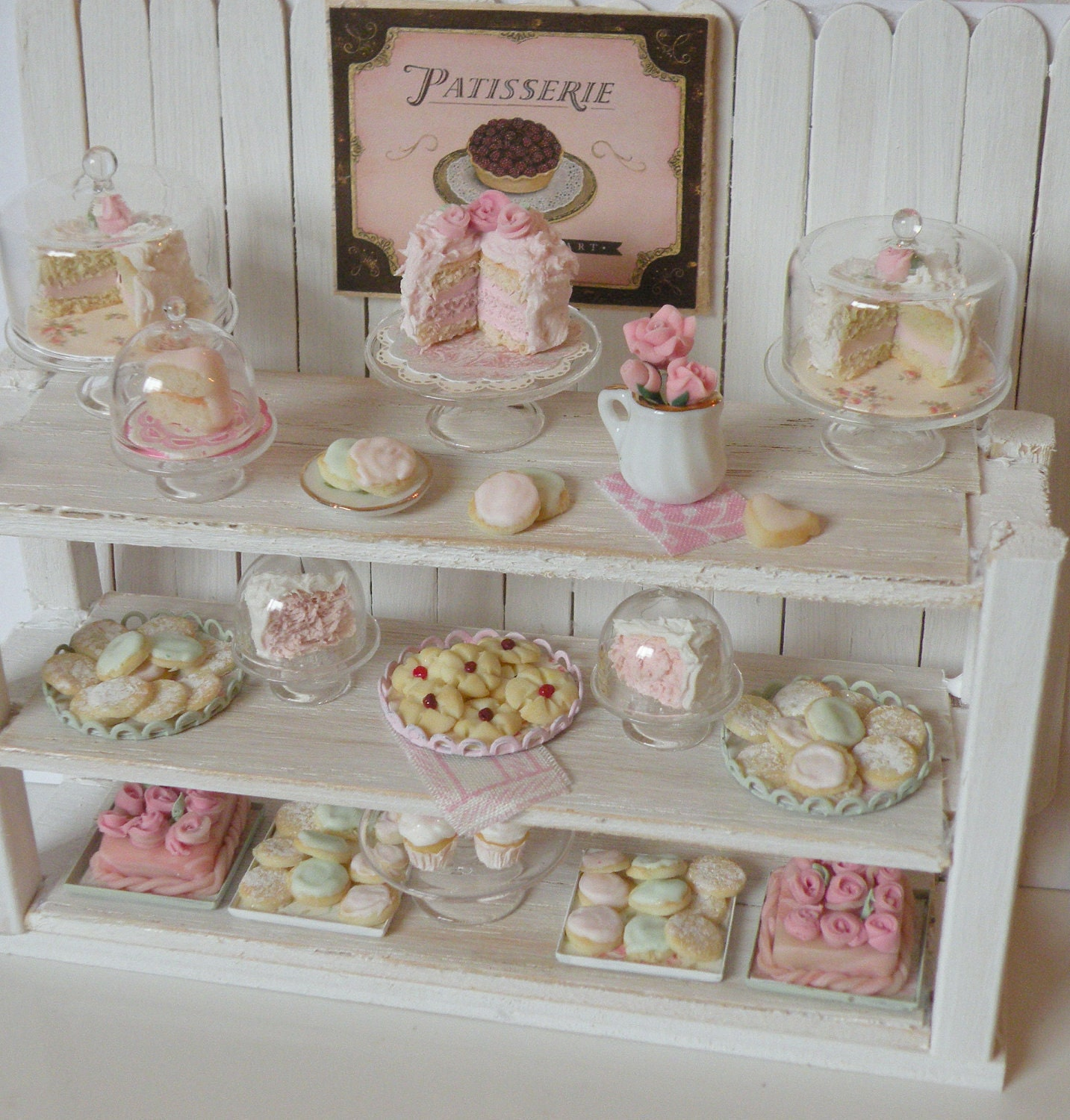 reserved miniature shabby chic bakery counter. Black Bedroom Furniture Sets. Home Design Ideas