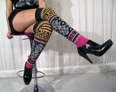 HIgh Fashion Knitted Legwarmers. Couture Multicolor wool.  Calivas by Knit Mystique. Over the knee tights stockings