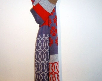 Handmade Knitted Wool Scarf - Patchwork Multicolor - Knit Mystique