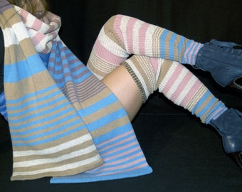 Over the Knee legwarmers for women- multistriped- Knit Mystique