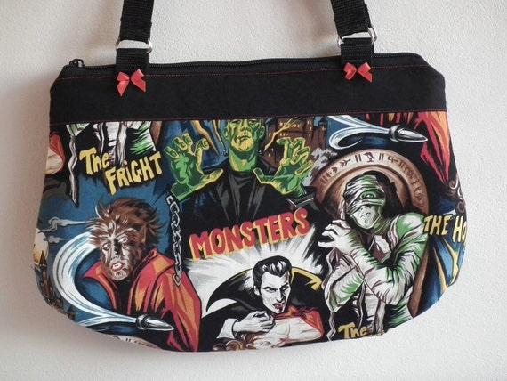 Movie Monsters Zip top Shoulder bag/tote size Medium-Large