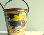 On Sale For a Limited Time Vintage Antique Litho Sand Pail with Original Shovel-1920's Featuring Zeppelins--ZR1--The Shenandoah----USA