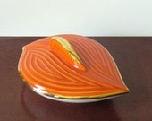 Vintage Stylized Orange and Gold Leaf Ceramic Dish--Mid Century Modern--Made in California