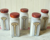 Vintage Antique Set of Five Griffiths Milk Glass Spice Jars with Red Metal Lids