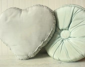 Vintage Pair of Throw Pillows One Tufted One Heart Seafoam Green Pale Grey Ribbed Satin