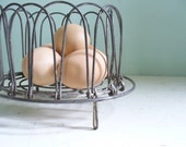 Vintage Wire Collapsible Egg Basket Farmhouse