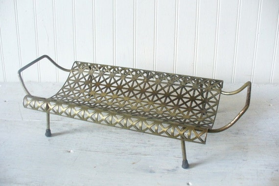 Vintage Perforated Cutwork Mid Century Modern Metal Letter Holder Tray Eames Era Atomic Retro
