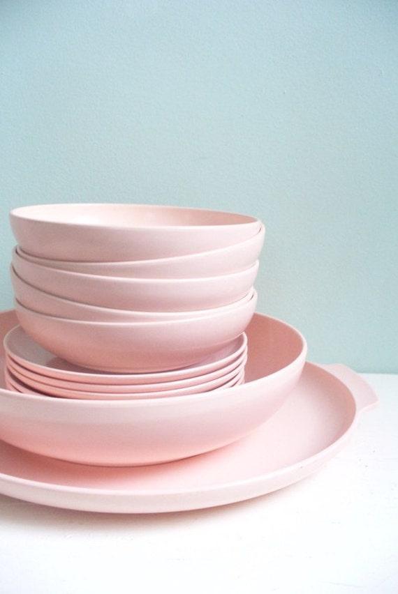 Vintage Lot of Pink Plastic Melmac Melamine Type Dishes Serving Platter Serving Bowl Six Saucer Plates and Five Bowls