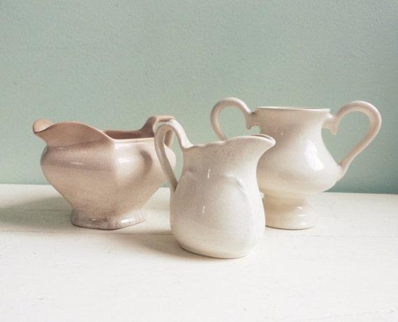 Vintage White Ironstone Collection Creamer Trio of Pieces Three White China