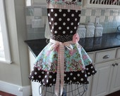 "4RetroSisters ""Annabelle"" - Floral Blue, Pink and Chocolate Brown Full Retro Apron"