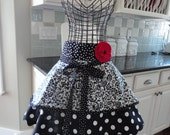 Do You Believe in Magic ~ Sadie Mae Style ~ Half Women's Black Swirl Apron ~ 4RetroAprons