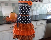 """4RetroSisters """"The Witch is In"""" Happy  Halloween Apron - Retro Full Apron - A Couple Left - Ready to Ship"""