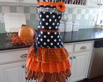 "4RetroSisters ""The Witch is In"" Happy  Halloween Apron - Retro Full Apron - A Couple Left - Ready to Ship"