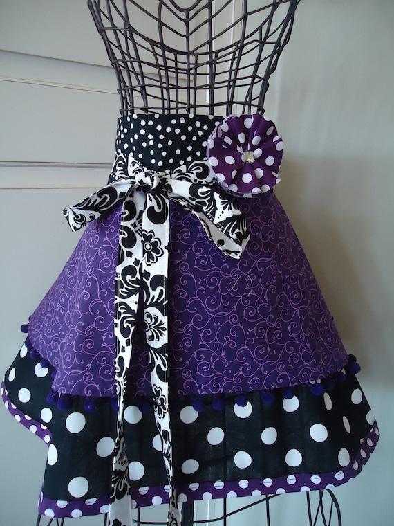 """4RetroSisters Original """"Annabelle Womens Half Pretty Purple Apron -  Retro Modern"""
