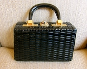 RESERVED for Elena Woven Box Handbag 1960s Silhouette for Spring Black Gold Tone Hardware with Feet Leather Swivel Handle Fabulous