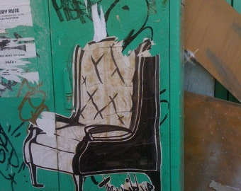 Market Chair TEL AVIV Graffiti Photo Street Art Urban Decay Flipping Gypsy Photography signed phipps y moran Free Mat Ready To Frame