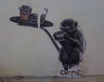 graffiti photo Monkey See, Monkey Do DEDE Tel Aviv McDonald's Flipping Gypsy Photography by phipps y moran Free Mat Ready To Frame