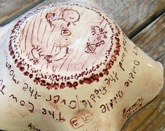Whimsical Bowl OOAK Primitive Rustic Artisan Handmade Splatter Pottery Nursery Rhyme Hey Diddle Diddle Words Sketches Signed EB Irresistible