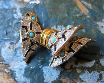 RARE Jomaz Art Deco Bow Brooch Florentine Gold Wash Pave Diamante Rhinestones Turquoise Glass Cabochons Black Enamel Perfection
