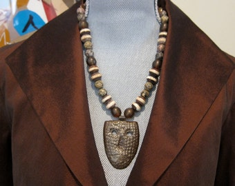 Face Mask Necklace Original OOAK African Trade Beads Agate Pearl Coins Bronze Clasp Primitive Tribal Folk Art to Wear