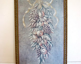 Jacques Lamy Fresco Painting Floral Bouquet Impressionist Ethereal 1980s Rustic French Country Beautifully Framed
