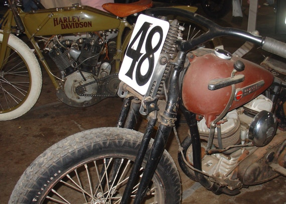 Motorcycle Photo Harley Number 48 Classic VINTAGE Flipping Gypsy Photography signed phipps y moran FREE MAT Ready To Frame