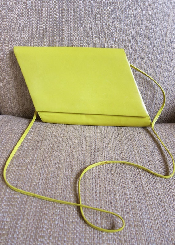 RESERVED for quaco Charles Jourdan Parallelogram Clutch with Strap Authentic 1980s Haute Couture Signature Piece lemon yellow leather RARE