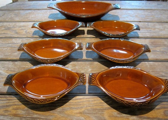 Real McCoy Oval Ramekins Gourmet Parisianne 7 Pieces Oven To Table Casserole Dishes Made in USA