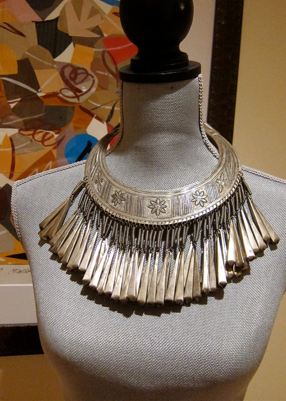 RESERVED for Chocowawa Tribal Torque Necklace with Incised Designs and 55 Chiming Dangles Golden Triangle Thailand Burma & Laos