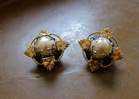 RESERVED for Nico Mary De Marco Earrings Luxe Mixed Metal Domed Faux Pearls BALTIMORE Handcrafted Designer Art To Wear