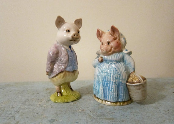 Beatrix Potter Piggy Pair Pigling Bland & Aunt Petitoes Cute Couple F Warne Co England Ltd Edition Beloved Porcelain Figurines Collectible