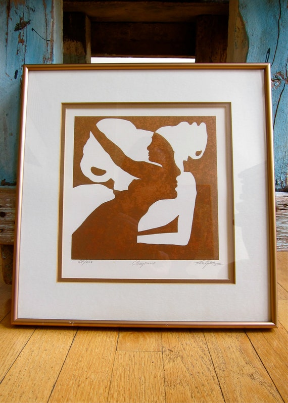 RESERVED Boho Signed Artist's Proof Gorgeous Silhouettes Copper & Cream 1970s Delight Titled Cheyenne Professionally Matted and Framed