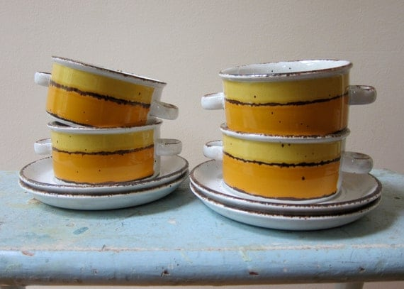 Midwinter Stonehenge SUN Stoneware Soup/Cereal Bowls with Handles and Saucers Set of 4 Mid Century Modern Classic