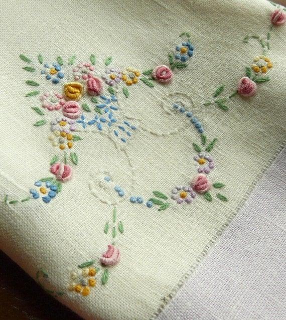 Lavender embroidered tea towel vintage for Vintage sites like etsy