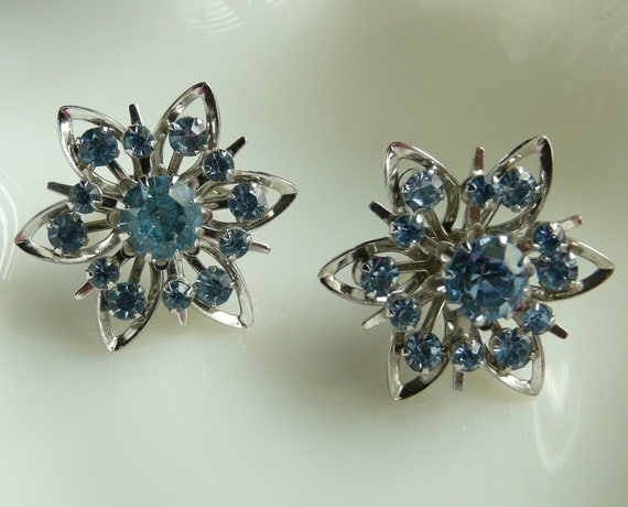 Silver and Blue Vintage Clip On Earrings by Coro