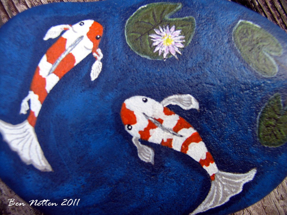 Hand painted koi fish pond on a rock acrylic animal pet art for Koi fish pond rocks