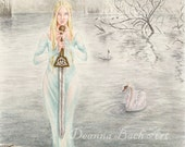 Lady of the Lake - fairy fantasy gothic art by Deanna Bach