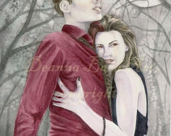 Vampire Lovers - fairy fantasy gothic art print by Deanna Bach