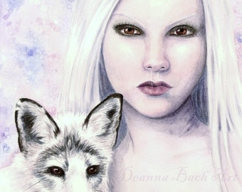 Kindreds - White Fox - fairy fantasy gothic art print by Deanna Bach