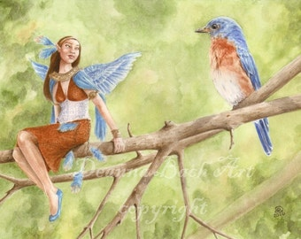 Kindreds - Bluebird - fairy fantasy gothic art print by Deanna Bach