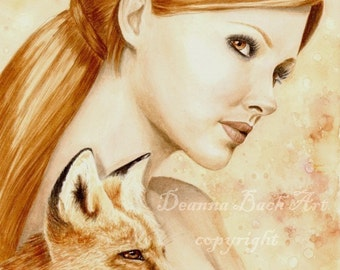 Kindreds - Red Fox - fairy fantasy gothic art print by Deanna Bach