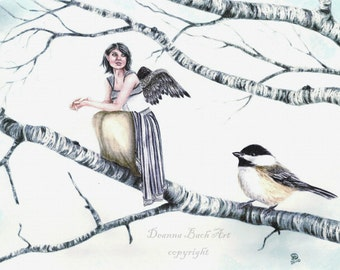 Kindreds - Chickadee - fairy fantasy gothic art print by Deanna Bach