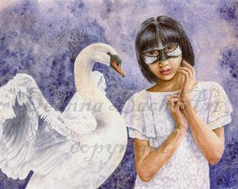 Kindreds - Swan (Twilight Masquerade) fairy fantasy gothic art by Deanna Bach